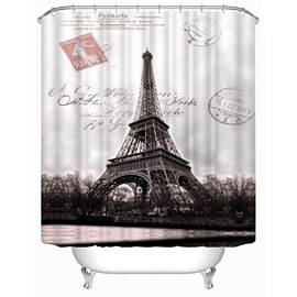 3D Eiffel Tower and the Seine Printed Polyester Shower Curtain
