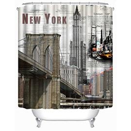 New York City Views Print 3D Bathroom Shower Curtain
