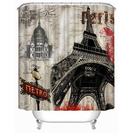 Classic Paris Eiffel Tower Print 3D Bathroom Shower Curtain