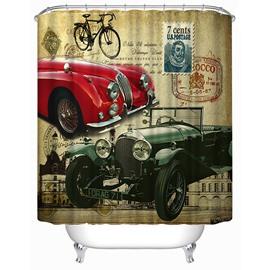 Chic Antique Cars Print 3D Bathroom Shower Curtain
