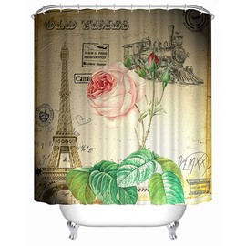 Paris Champagne Rose Print 3D Bathroom Shower Curtain