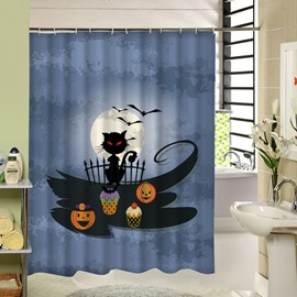 Somber Black Cat and Pumpkin Lanterns at Night Halloween Poster 3D Printing Shower Curtain