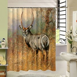 A Deer Torsion Head Printing 3D Bathroom Decor Shower Curtain