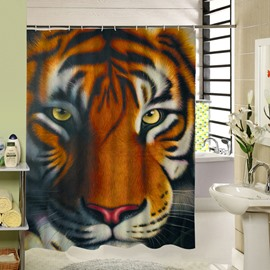 3D Siberian Tiger Face Printed Polyester Brown Shower Curtain