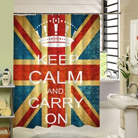 Union Jack and Encouraging Words Printing Shower Curtain