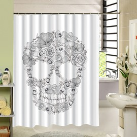 3D Skull With Flowers Printed Polyester White Shower Curtain