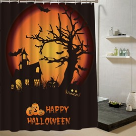 Scary Haunted House Halloween Poster 3D Printing Shower Curtain