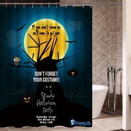 Halloween Night Poster Printing 3D Waterproof Shower Curtain