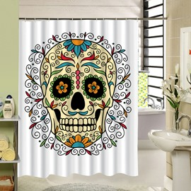 3D Skull with Plants Printed Polyester White Shower Curtain