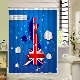 The Union Flag Printing Printing 3D Waterproof Polyester Shower Curtain