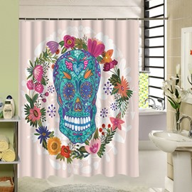 3D Skull and Colorful Garland Printed Polyester Pink Shower Curtain