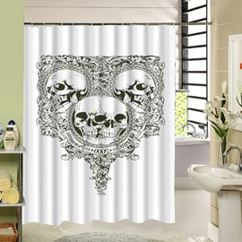 3D Skull Mirror Printed Polyester White Shower Curtain