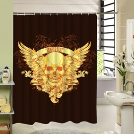 3D Skull With Wings Printed Polyester Brown Shower Curtain