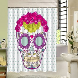 3D Colorful Skull Printed Dot Pattern Polyester White Shower Curtain