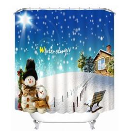 Lovely Snowman and Cabin Printing Christmas Theme Bathroom 3D Shower Curtain