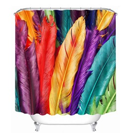 Colorful Feathers Pattern Polyester Waterproof and Eco-friendly 3D Shower Curtain