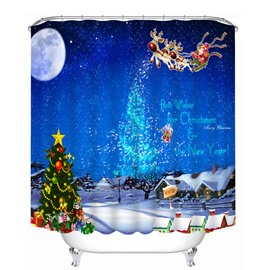 Santa Riding Reindeer in the Sky Printing Christmas Theme Bathroom 3D Shower Curtain
