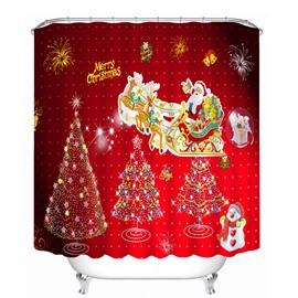 Cute Santa Riding Reindeer and Christmas Tree Printing Bathroom 3D Shower Curtain