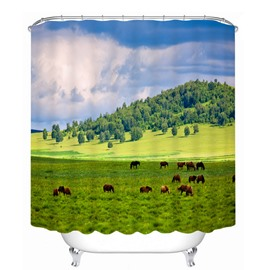 Cow Eating Grass on Field Printing Bathroom 3D Shower Curtain