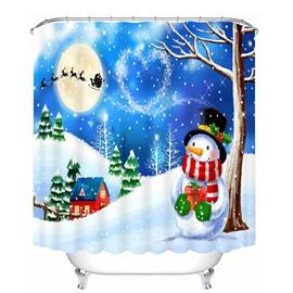 Cartoon Snowman under the Tree Printing Christmas Theme Bathroom 3D Shower Curtain