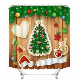Creative Applique Christmas Tree and Decor Printing Printing Christmas Theme Bathroom 3D Shower Curtain
