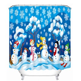 Cute Cartoon Snowmen Playing Printing Christmas Theme Bathroom 3D Shower Curtain