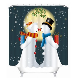 Couple Snowman Lover Printing Bathroom 3D Shower Curtain