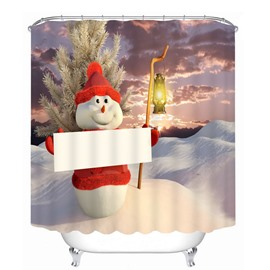 Snowman Holding a White Board Printing Christmas Theme Bathroom 3D Shower Curtain