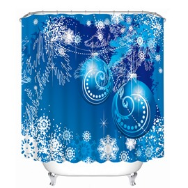 Dreamlike Blue Christmas Balls Printing Bathroom 3D Shower Curtain