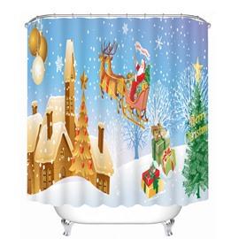 Santa Riding Reindeer Flying Castle Printing Christmas Theme Bathroom 3D Shower Curtain