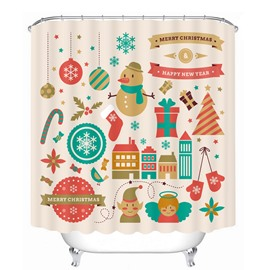 Super Cute Clip Art Christmas Theme Printing Bathroom Decor 3D Shower Curtain