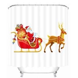 Cartoon Santa Riding Reindeer with Gifts Printing Christmas Theme Bathroom 3D Shower Curtain