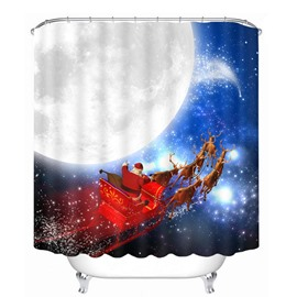 Santa Riding Reindeer by the Moon Printing Christmas Theme 3D Shower Curtain