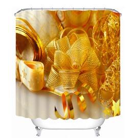 Golden Ribbon Christmas Decor Printing Christmas Theme 3D Shower Curtain
