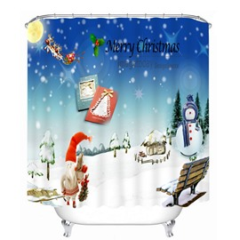 Cute Cartoon Christmas Scenery Printing Christmas Theme 3D Shower Curtain