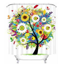 Wonderful Colored Flowers Tree Printing 3D Shower Curtain