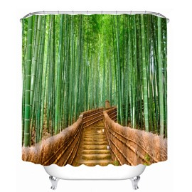 Green Bamboo on both Sides of the Path Printing 3D Shower Curtain