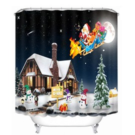 Cartoon Santa Riding Reindeer toward Cabin Printing Christmas Theme 3D Shower Curtain