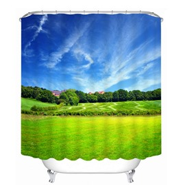 Blue Sky and Green Pasture Printing Bathroom Decor 3D Shower Curtain