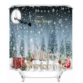 69 Aesthetic Snow Scene And Merry Christmas Printing Theme 3D Shower Curtain
