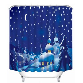 Cartoon Santa House Peaceful Winter Night of the Village Printing Christmas Theme 3D Shower Curtain