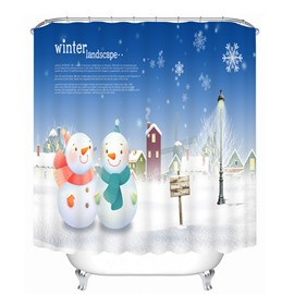 Couple Sweet Snowmen in the Light Printing Christmas Theme 3D Shower Curtain