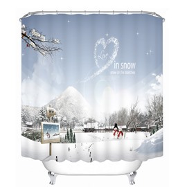 Couple Snowmen Love in Snow Printing Christmas Theme 3D Shower Curtain