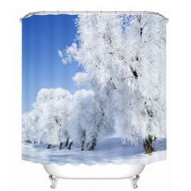 Amazing Snow Forest Printing Bathroom 3D Shower Curtain