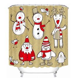 Stick Figures Santa Snowman and Reindeer Printing Christmas Theme Bathroom 3D Shower Curtain