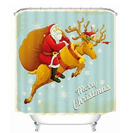Cool Santa Riding Reindeer Printing Christmas Theme Bathroom 3D Shower Curtain