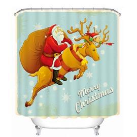 Cool Santa Riding Reindeer Printing Christmas Theme Bathroom 3D Shower Curtain