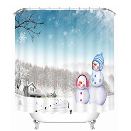 Cute Snowmen in Winter Printing Christmas Theme Bathroom 3D Shower Curtain