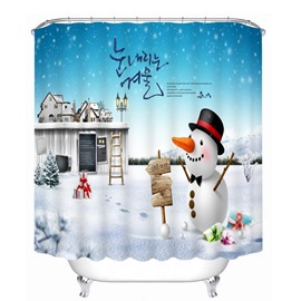 Cartoon Cute Snowman and Magic Castle Printing Christmas Theme Bathroom 3D Shower Curtain