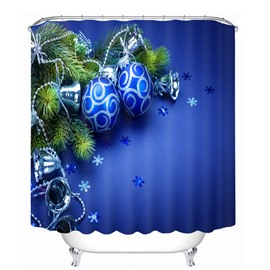 Blue Christmas Balls and Bells Printing Bathroom 3D Shower Curtain